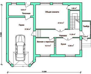 гараж и топочная на плане дома