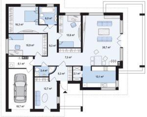 дом с гаражом одноэтажный