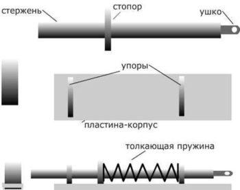 чертеж запора для ворот