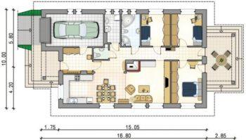 одноэтажное строение с гаражом