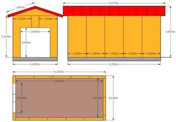 схема и размеры гаража